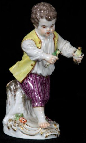 Meissen Painted Figure Of A Boy