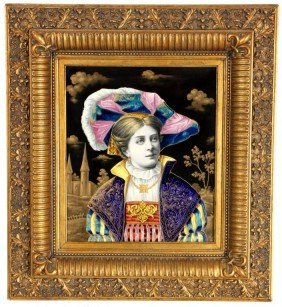 Large Enamel Plaque Of Girl