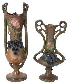 2 Amphora Vases W/ Grapes