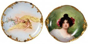 2 Large Painted Limoges Plaques