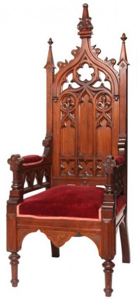 Carved Gothic Walnut Throne Chair