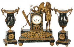 3 Pc. French Figural Mantle Clock Set