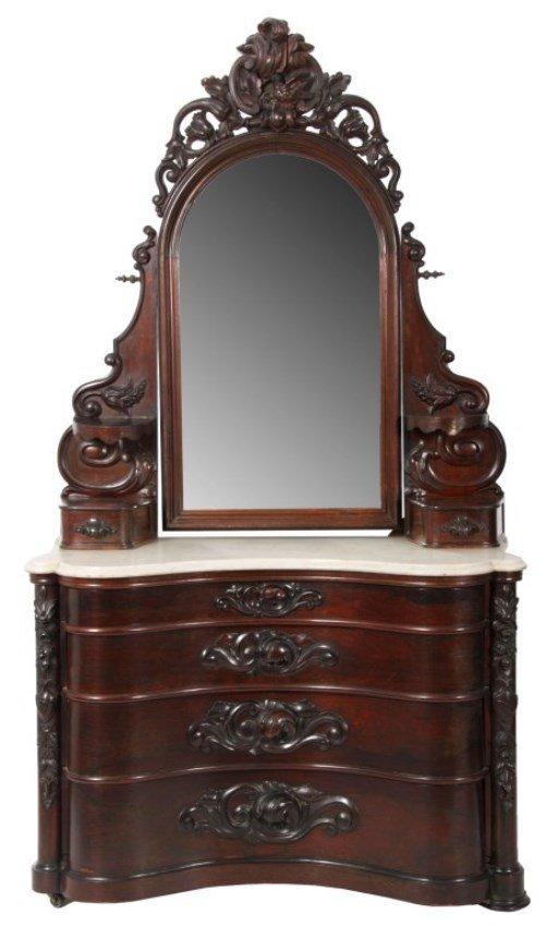 J H Belter Laminated Rosewood Marble Top Dresser Lot 157