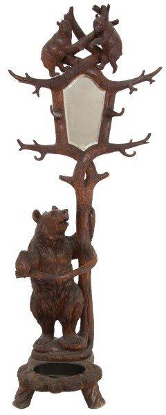 Figural Carved Black Forest Bear Hall Tree