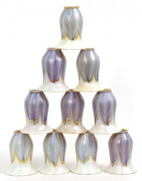 10 Quezal Pulled Blue Feather Artglass Shades