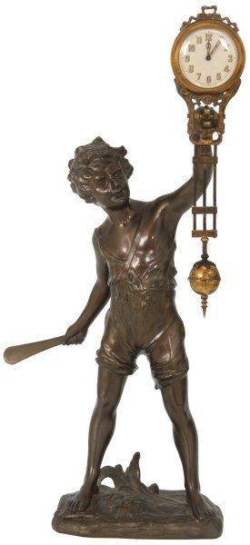 "Junghans Figural ""cricket Boy"" Swinger Clock"