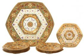 9 Pc. Enamel Decorated Tray And Plates