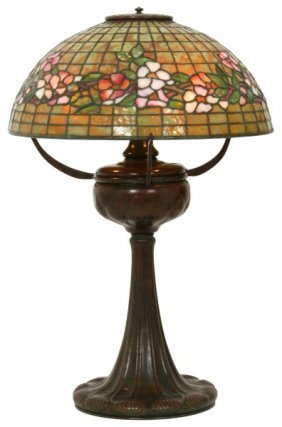 18 In. Tiffany Studios Banded Dogwood Table Lamp