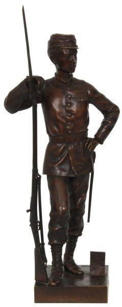 A. Frette Bronze Soldier Sculpture