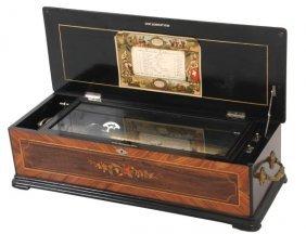 Inlaid Rosewood Cylinder Music Box Attr: Paillard