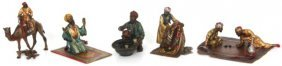 5 Pcs. Cold Painted Bronze Arab Figures