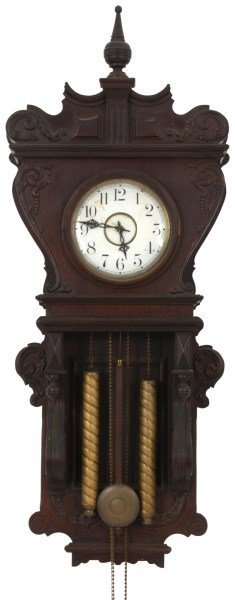 Waterbury Weight Driven Mahogany Wall Clock