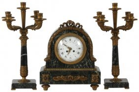 3 Pc. Lenzkirch Marble & Bronze Clock Set