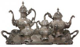 5 Pc Portuguese Silver Tea Set
