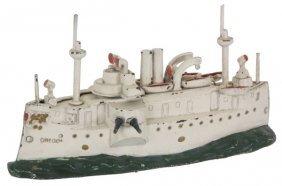 J. & E. Stevens Cast Iron Battle Ship Bank