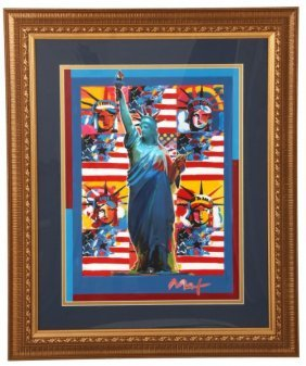 Peter Max Acrylic On Lithograph, C.2000