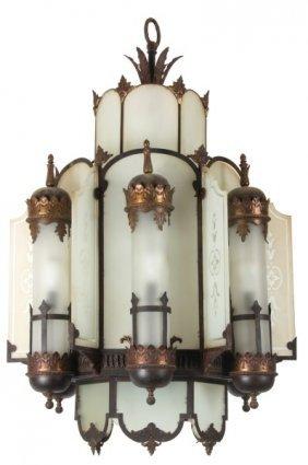Fancy Brass & Iron Hanging Theater Light