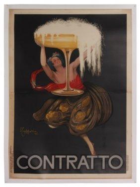 Original Vintage Italian Contratto Vermouth Poster