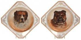 Pr. Altwasser Porcelain Portrait Dog Plates