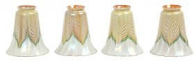 4 Quezal Pulled Feather Artglass Shades
