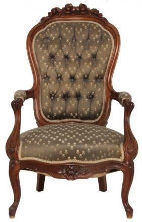 Carved Walnut Victorian Armchair