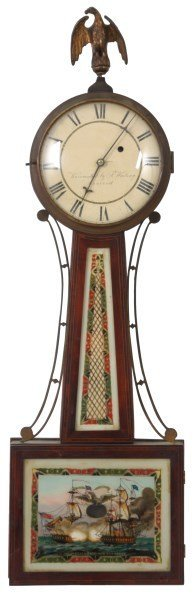 American Weight Driven Mahogany Banjo Clock