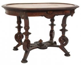 Pottier & Stymus Rosewood Marble Top Table