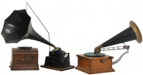 2 Phonographs In Oak Cases