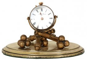 Brass Cannon Novelty Ball Desk Clock