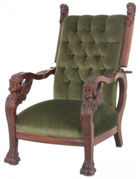 Cherub Carved Mahogany Morris Chair