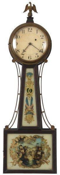 Massachusetts Weight Driven Mahogany Banjo Clock