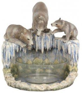 Lg. Capodimonte Figural Polar Bear Centerpiece