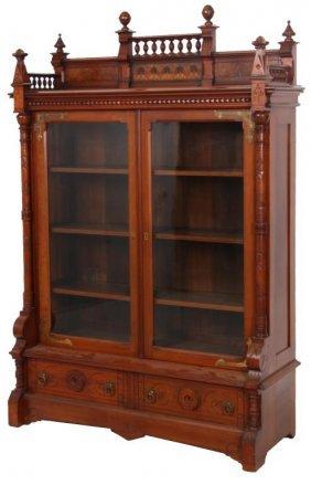 Gothic Carved Walnut 2 Door Bookcase