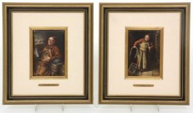 2 German Porcelain Plaques Signed Wagner