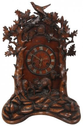 Black Forest Carved Cuckoo Table Clock, Attr. Beha