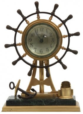 Bronze Ships Wheel Nautical Desk Clock