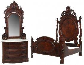Victorian Queen Size Walnut Bed & Dresser