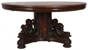 60 In. Oak Dolphin Dining Table W/ 12 Leaves