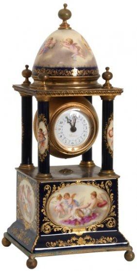 Attr. Royal Vienna Porcelain 4 Column Mantle Clock