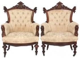 Pr. John Jelliff Carved Rosewood Armchairs
