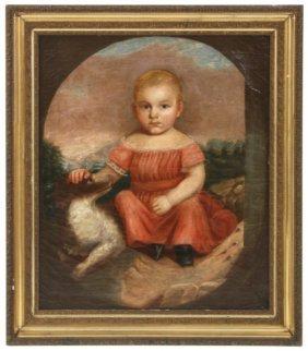Folk O/c Portrait Of A Young Girl W/ Dog