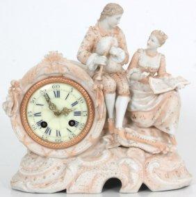 Bisque Figural Mantle Clock