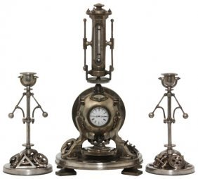 3 Pc. French Industrial Spherical Boiler Clock Set