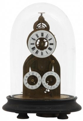Brass Triple Dial Skeleton Clock Under Dome
