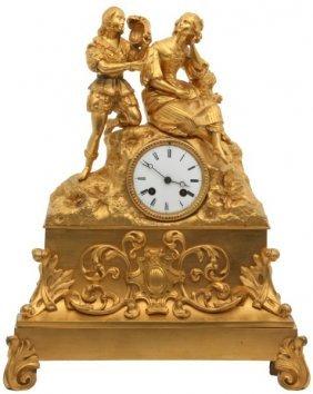 French Bronze Silk Thread Mantle Clock