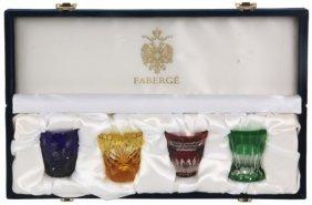 Cased Set Faberge Cut Crystal Overlay Glasses