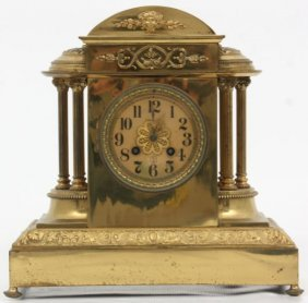 J.e. Caldwell Brass Mantle Clock