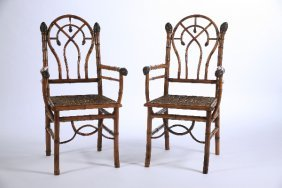 Pair Of French Bamboo Arm Chairs