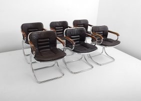 Set Of 6 Leather Dining Chairs, Pace