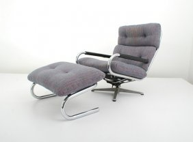Swivel Chair & Ottoman By Directional
